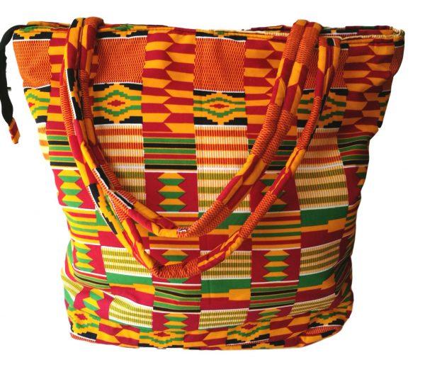African Print Shopping Bag - Orange