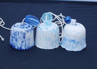 Blue Ceramic Bell chimes (Set)