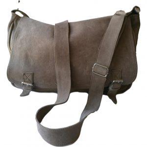 Soft Grey Leather Laptop Bag