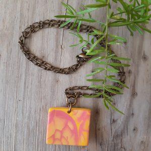 pink square pendant