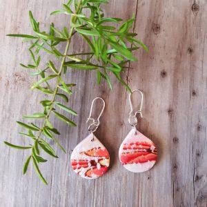 orang and white earrings